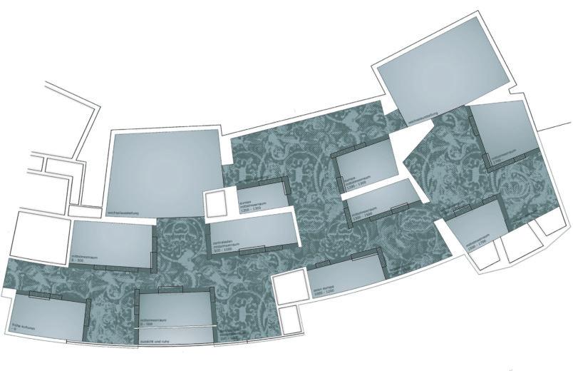 Aufsicht Ausstellungsräume mit Deckentextil