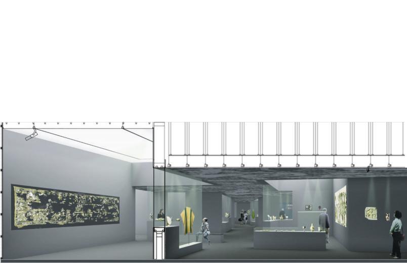Ausstellungsraum und Deckenkonstruktion