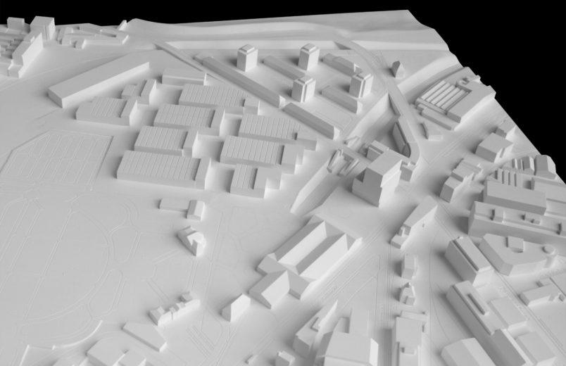 Modell Bebauung inklusive Hochhaus