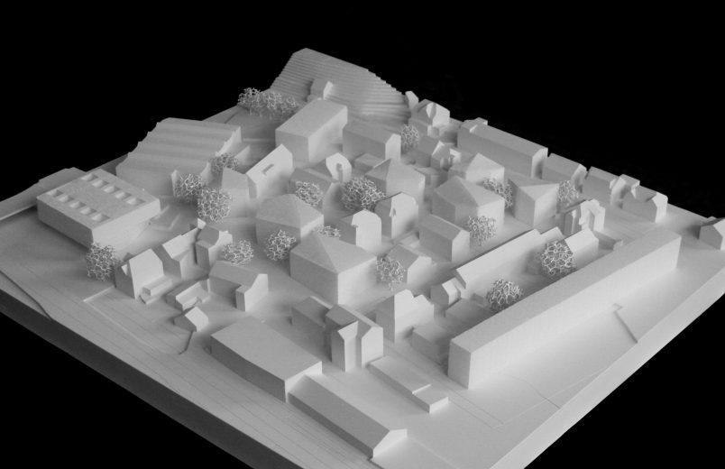 Modell mit neuem Stadtzentrum