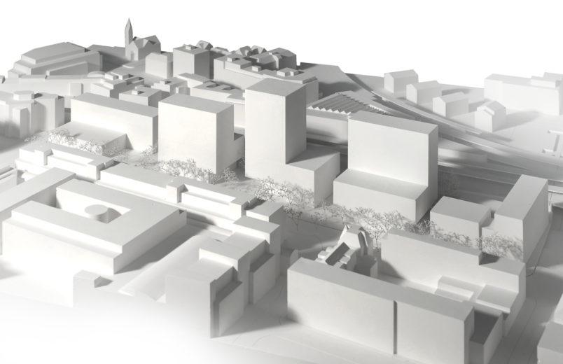 Modell mit Neubauten 1. Etappe