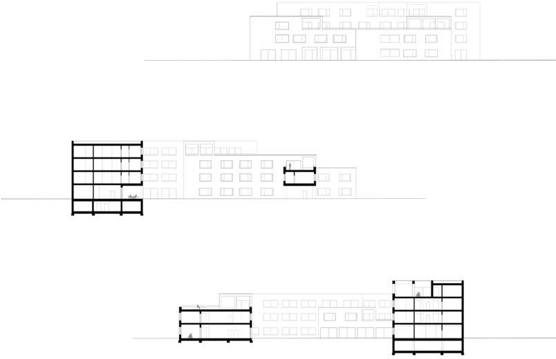 Ansicht und Gebäudeschnitte