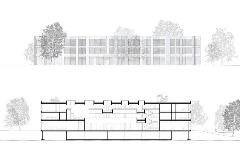 Ansicht und Gebäudeschnitt