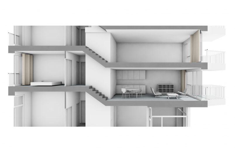 Visualisierung Wohnung mit Split-Level